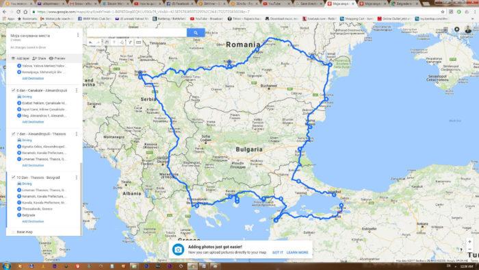 mapa puta Moto tura Beograd Istanbul Balkan Riders